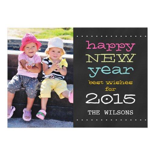 Feliz Año Nuevo de la pizarra tarjeta de la foto Invitación