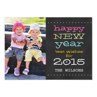 """Feliz Año Nuevo de la pizarra tarjeta de la foto Invitación 5"""" X 7"""""""