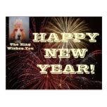 Feliz Año Nuevo de la postal con el rey de Basset