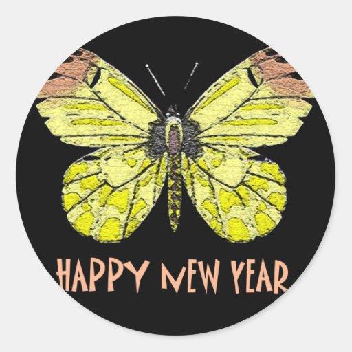 Feliz Año Nuevo de las mariposas y de las polillas Pegatinas Redondas