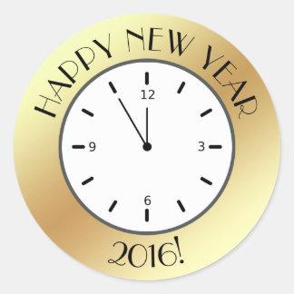 Feliz Año Nuevo de medianoche del falso de oro Pegatina Redonda
