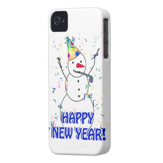 Feliz Año Nuevo del muñeco de nieve de celebración iPhone 4 Case-Mate Fundas