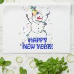 Feliz Año Nuevo del muñeco de nieve de celebración Toallas De Cocina