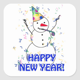 Feliz Año Nuevo del muñeco de nieve de celebración Pegatina Cuadrada