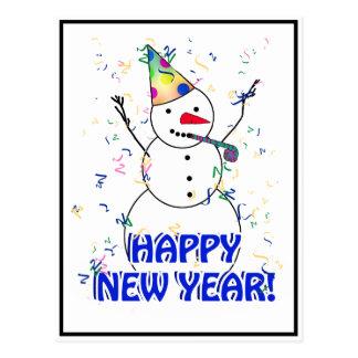 Feliz Año Nuevo del muñeco de nieve de celebración Postales