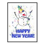 Feliz Año Nuevo del muñeco de nieve de celebración Tarjeta Postal