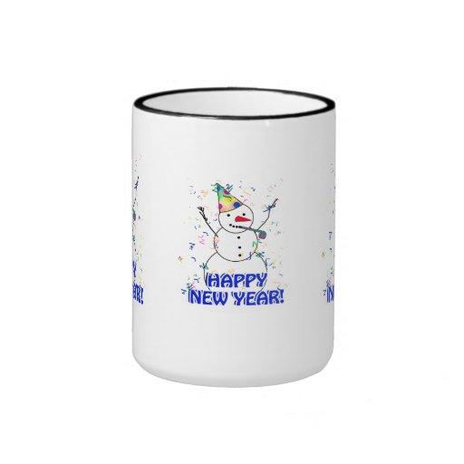 Feliz Año Nuevo del muñeco de nieve de celebración Taza De Café
