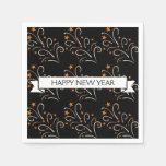 Feliz Año Nuevo del negro del modelo de los fuegos Servilleta Desechable