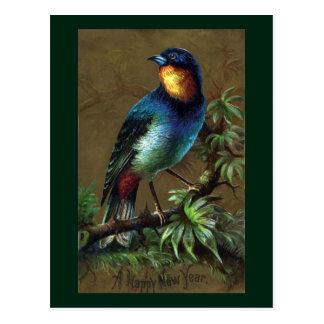 Feliz Año Nuevo del pájaro tropical Postal