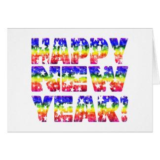¡Feliz Año Nuevo del vintage del arco iris! Tarjetas