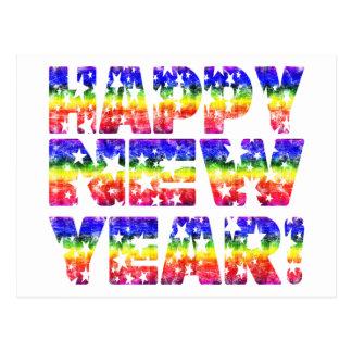 ¡Feliz Año Nuevo del vintage del arco iris! Postales