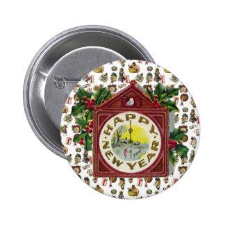 Feliz Año Nuevo del vintage Pin Redondo 5 Cm