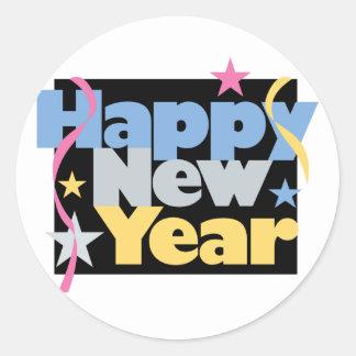 Feliz Año Nuevo elegante Pegatina Redonda