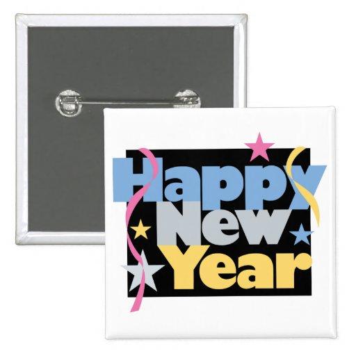Feliz Año Nuevo elegante Pin Cuadrada 5 Cm