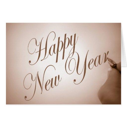 Feliz Año Nuevo en caligrafía Tarjeton