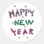 Feliz Año Nuevo en colores del caramelo Pegatina Redonda