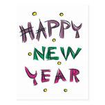 Feliz Año Nuevo en colores del caramelo Postal