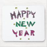 Feliz Año Nuevo en colores del caramelo Tapetes De Ratones