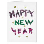 Feliz Año Nuevo en colores del caramelo Felicitaciones