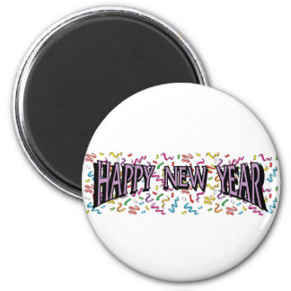 Feliz Año Nuevo en púrpura Imán De Nevera