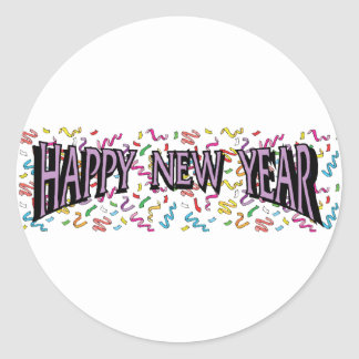 Feliz Año Nuevo en púrpura Pegatinas Redondas