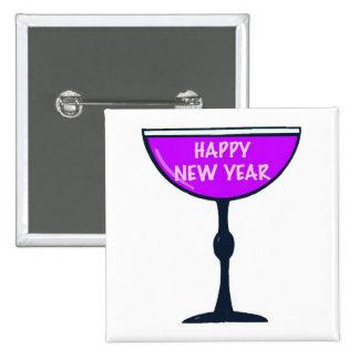 Feliz Año Nuevo en vidrio Pin