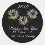 Feliz Año Nuevo - etiquetas personalizadas del Pegatina Redonda