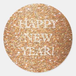 ¡Feliz Año Nuevo! Fiesta de cobre del encanto del Pegatina Redonda