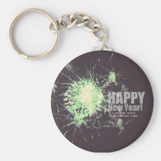 Feliz Año Nuevo (fuego artificial) Llavero Redondo Tipo Pin