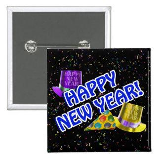 ¡FELIZ AÑO NUEVO! Gorras azules del texto w/Party Pin Cuadrado