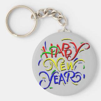 Feliz Año Nuevo Llavero Redondo Tipo Pin