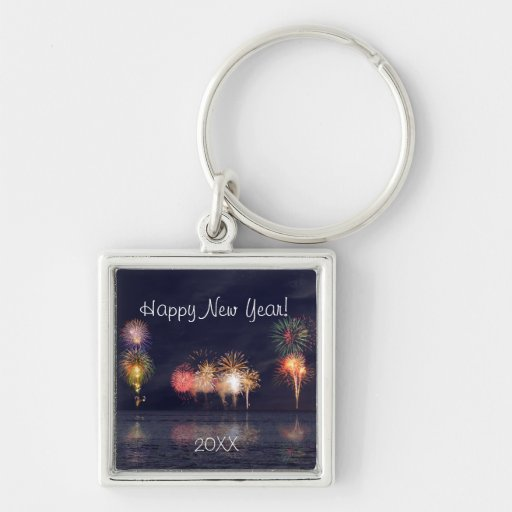 Feliz Año Nuevo Llavero Cuadrado Plateado