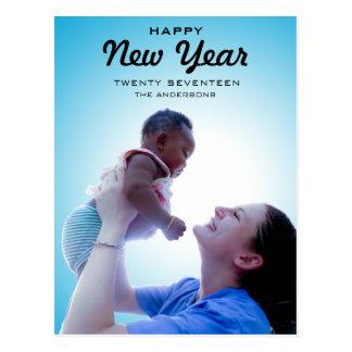 Feliz Año Nuevo moderna 2017 de la foto de familia Tarjeta Postal