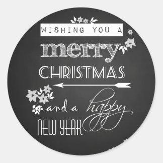 Feliz Año Nuevo negra de las Felices Navidad de la Pegatina Redonda