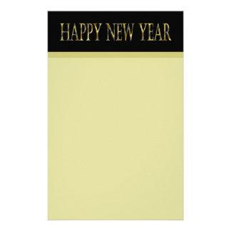 Feliz Año Nuevo negra del oro Papeleria