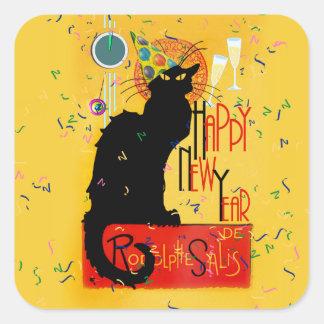 Feliz Año Nuevo Noir de la charla Calcomania Cuadradas Personalizadas