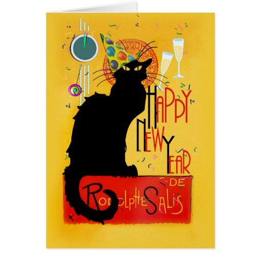 Feliz Año Nuevo Noir de la charla Tarjeta De Felicitación