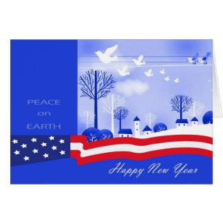 Feliz Año Nuevo. Paz en tarjetas del diseño de la