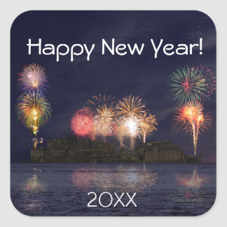 Feliz Año Nuevo Pegatina Cuadrada