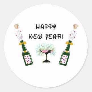 Feliz Año Nuevo Pegatina Redonda