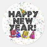 ¡FELIZ AÑO NUEVO! PEGATINA REDONDA