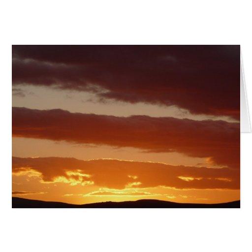 Feliz Año Nuevo - puesta del sol sobre el Cheviots Tarjeta De Felicitación