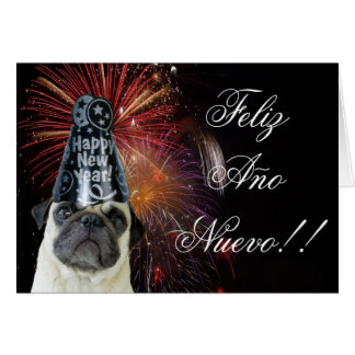 Feliz Ano Nuevo pug greeting card