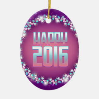 Feliz Año Nuevo púrpura chispeante 2016 Adorno Navideño Ovalado De Cerámica