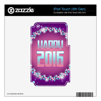 Feliz Año Nuevo púrpura chispeante 2016 Skins Para iPod Touch 4G
