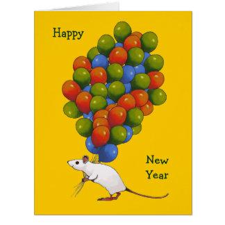 Feliz Año Nuevo Ratón blanco con las PORCIONES de Felicitación