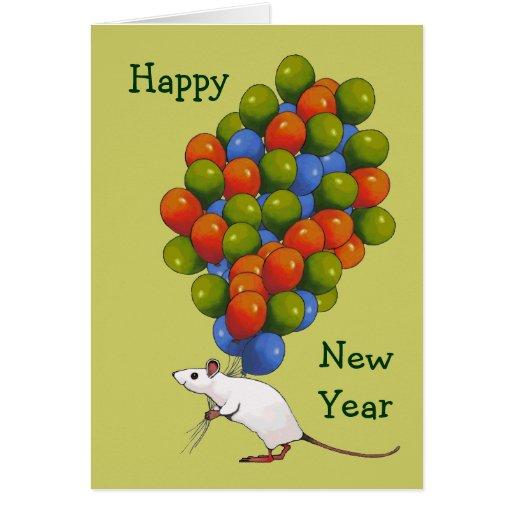 Feliz Año Nuevo: Ratón blanco con las PORCIONES de Tarjeta De Felicitación