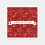 Feliz Año Nuevo roja del modelo de los fuegos Servilleta De Papel