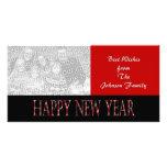 Feliz Año Nuevo roja Tarjeta Fotografica Personalizada