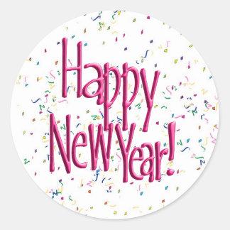 ¡FELIZ AÑO NUEVO rosada! Imagen del texto Pegatina Redonda